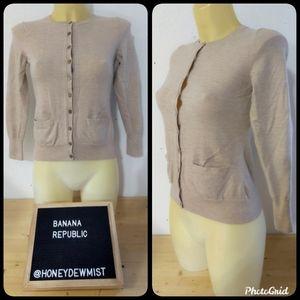 BANANA REPUBLIC Tan Front Button Sweater Cardigan
